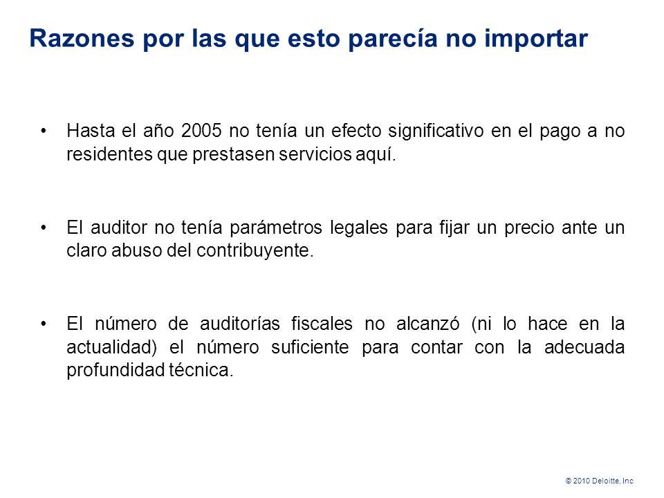 © 2010 Deloitte, Inc ¿Qué métodos usábamos antes? Salvo multinacionales muy grandes, no existe preocupación por el monto de ingresos que ocurran entre