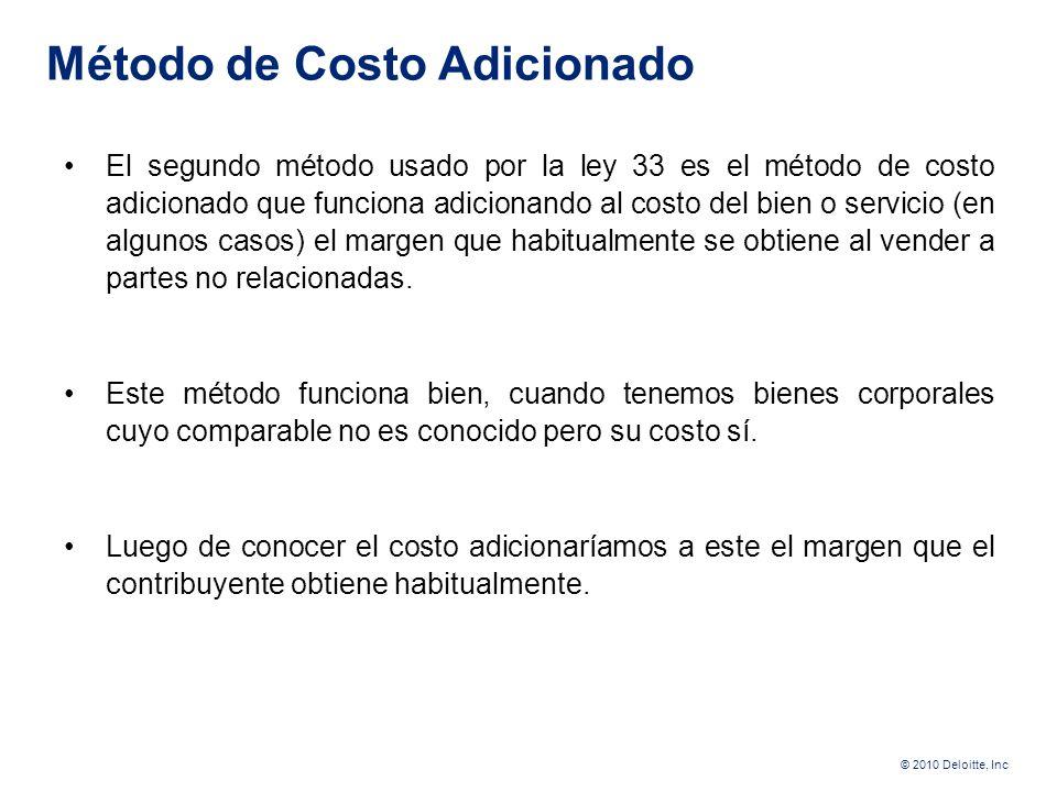 © 2010 Deloitte, Inc Los dos métodos que siguen se basan en la siguiente realidad 35 Sembró Guandú Importó y vendió Guandú Costos con Partes no relaci
