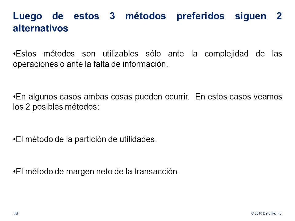 © 2010 Deloitte, Inc Método de precio de reventa En ocasiones el costo de la mercancía no se conoce con propiedad. Por ejemplo, en la industria agríco