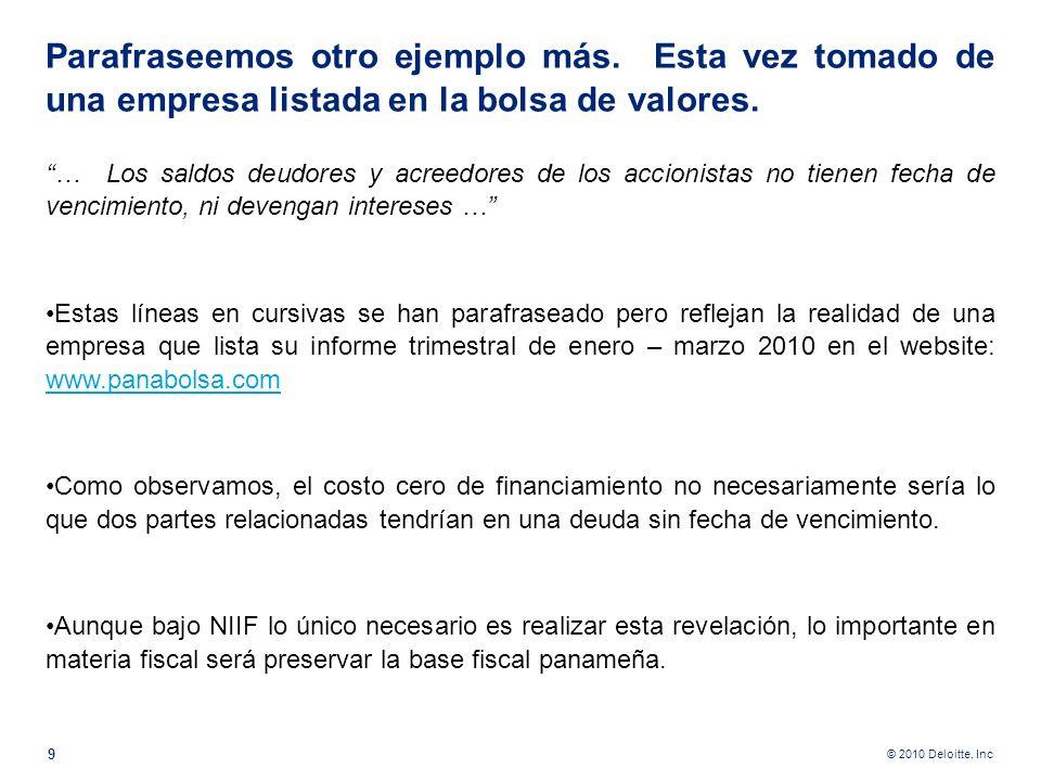 © 2010 Deloitte, Inc Tomemos esta nota de los Estados Financieros de un banco de la localidad y publicado en la prensa local. … El Banco … en la fecha