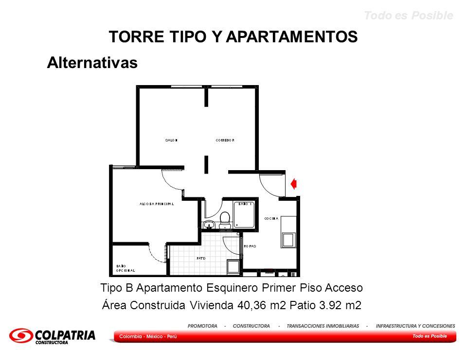 Todo es Posible Alternativas TORRE TIPO Y APARTAMENTOS Tipo B Apartamento Esquinero Primer Piso Acceso Área Construida Vivienda 40,36 m2 Patio 3.92 m2