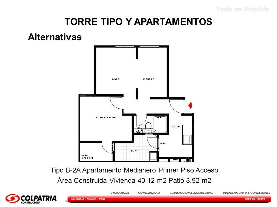 Todo es Posible Alternativas TORRE TIPO Y APARTAMENTOS Tipo B-2A Apartamento Medianero Primer Piso Acceso Área Construida Vivienda 40,12 m2 Patio 3.92
