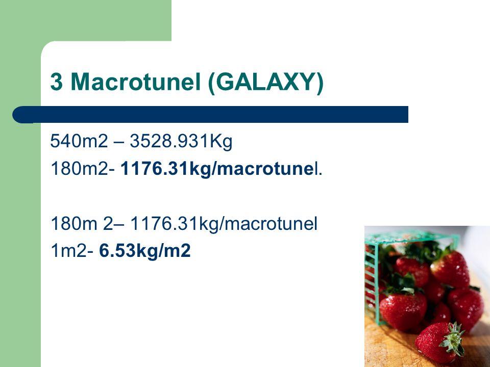3 Macrotunel (GALAXY) 540m2 – 3528.931Kg 180m2- 1176.31kg/macrotunel. 180m 2– 1176.31kg/macrotunel 1m2- 6.53kg/m2