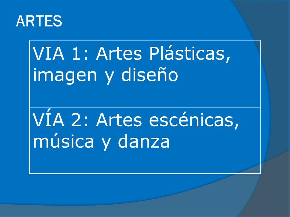 ARTES VIA 1: Artes Plásticas, imagen y diseño VÍA 2: Artes escénicas, música y danza