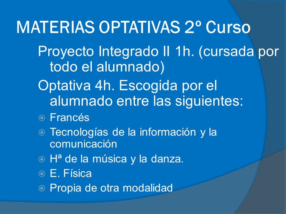 MATERIAS OPTATIVAS 2º Curso Proyecto Integrado II 1h.