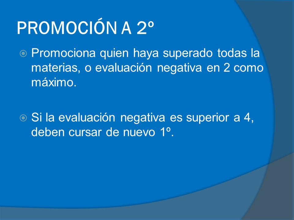 PROMOCIÓN A 2º Promociona quien haya superado todas la materias, o evaluación negativa en 2 como máximo. Si la evaluación negativa es superior a 4, de