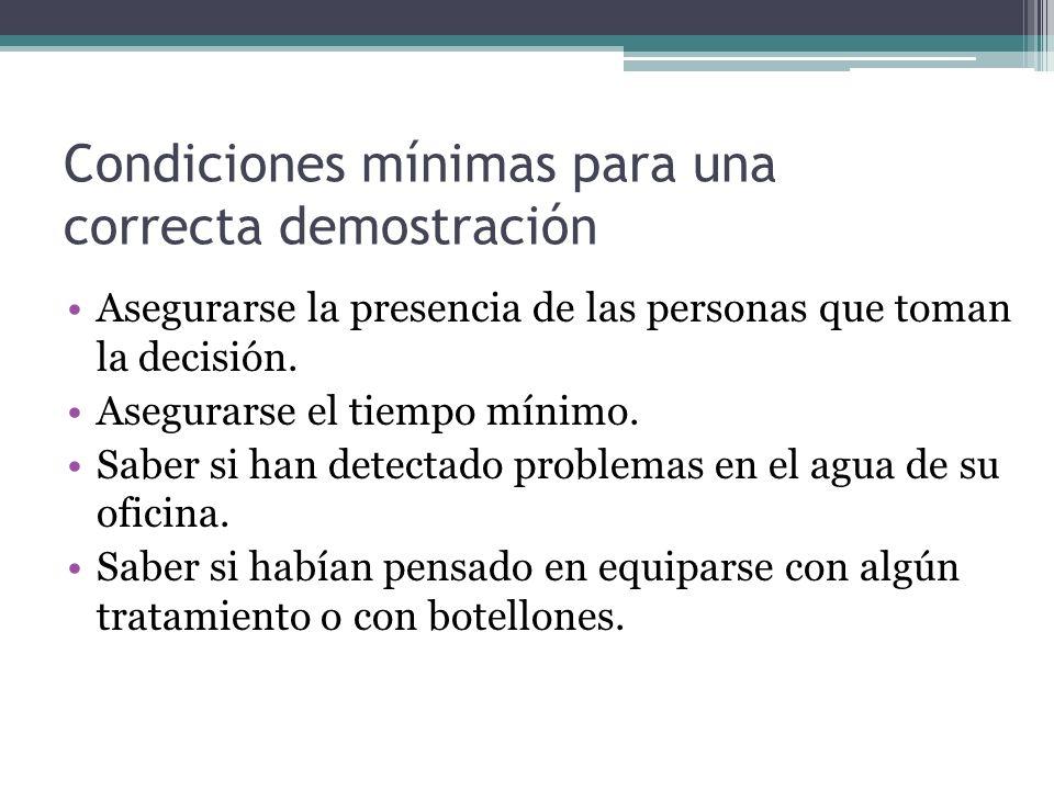 Condiciones mínimas para una correcta demostración Asegurarse la presencia de las personas que toman la decisión.
