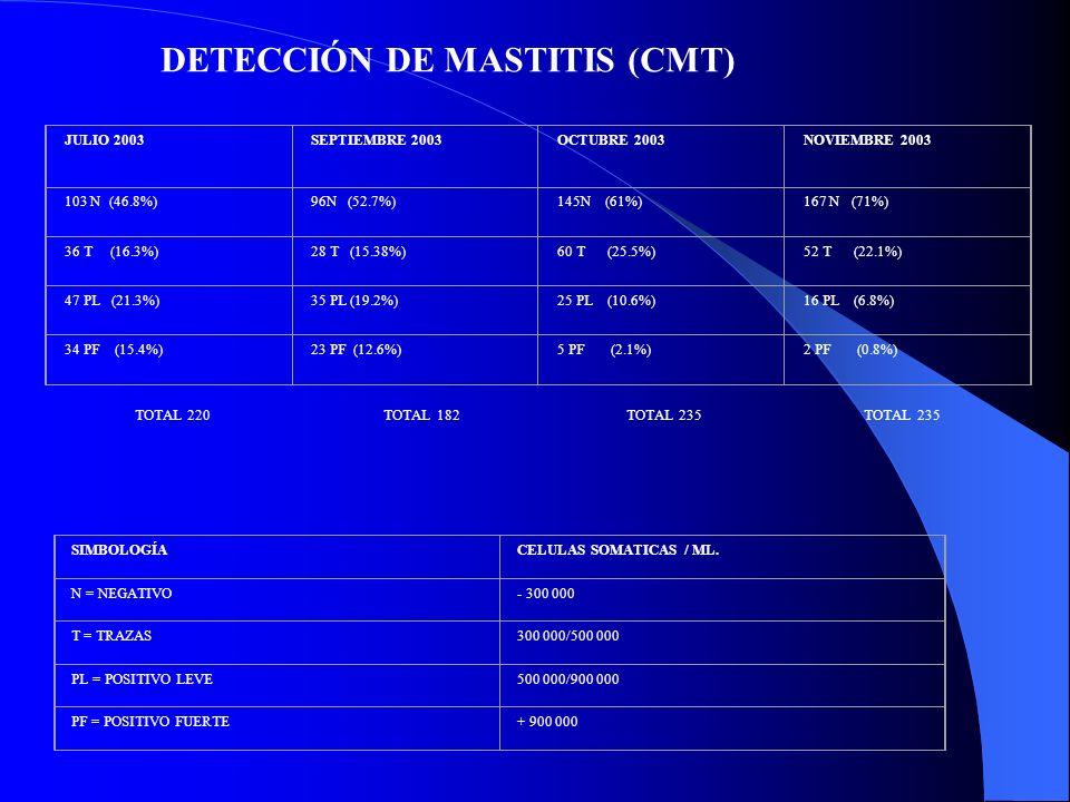 JULIO 2003SEPTIEMBRE 2003OCTUBRE 2003NOVIEMBRE 2003 103 N (46.8%)96N (52.7%)145N (61%)167 N (71%) 36 T (16.3%)28 T (15.38%)60 T (25.5%)52 T (22.1%) 47