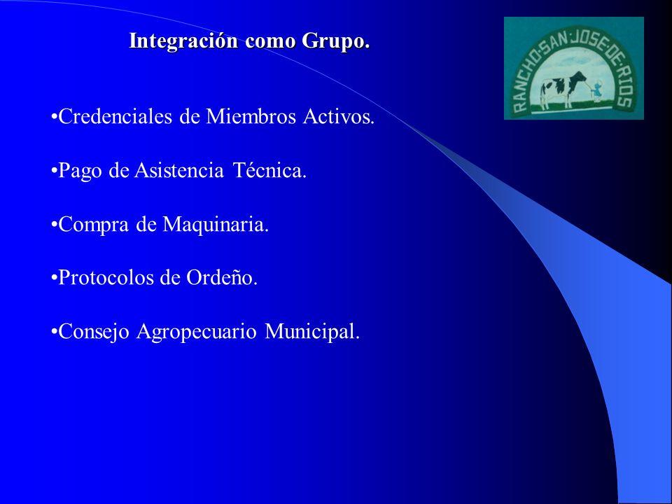 Integración como Grupo. Credenciales de Miembros Activos. Pago de Asistencia Técnica. Compra de Maquinaria. Protocolos de Ordeño. Consejo Agropecuario
