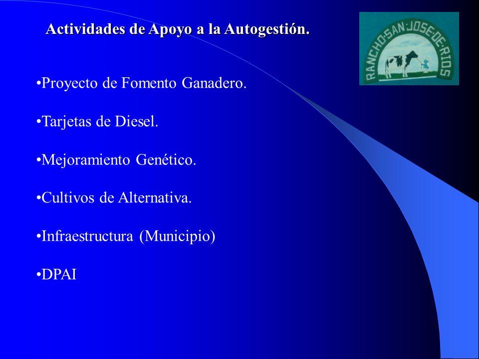 Actividades de Apoyo a la Autogestión. Proyecto de Fomento Ganadero. Tarjetas de Diesel. Mejoramiento Genético. Cultivos de Alternativa. Infraestructu