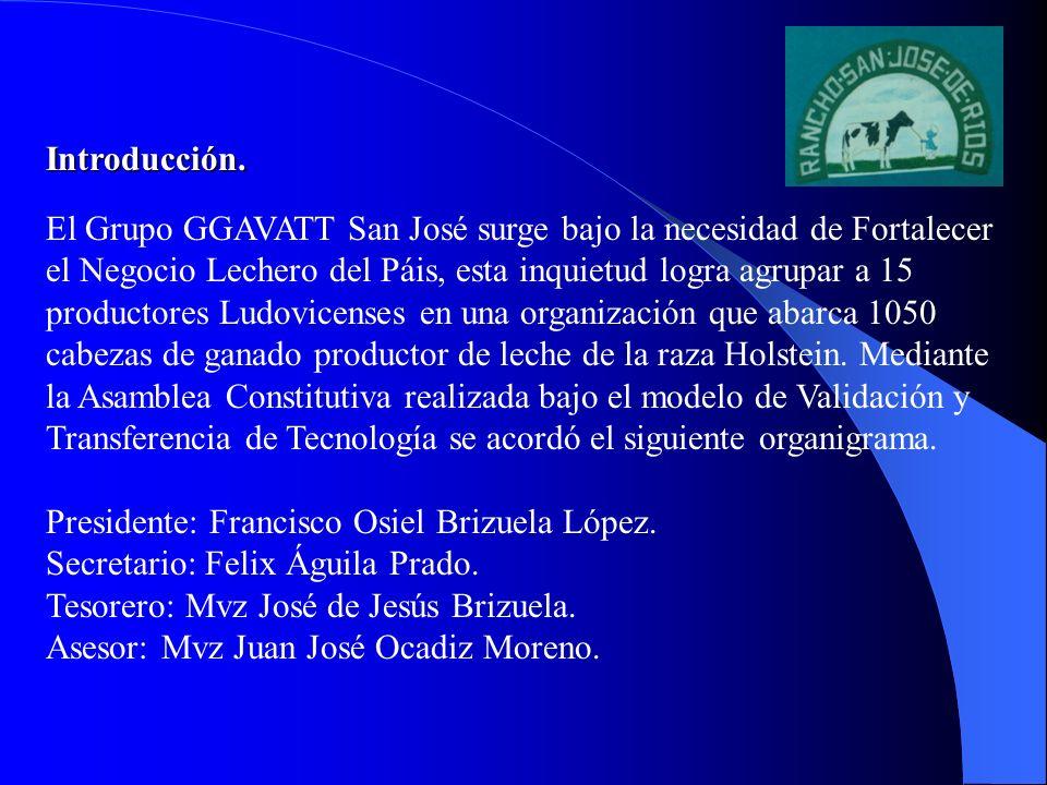 Introducción. El Grupo GGAVATT San José surge bajo la necesidad de Fortalecer el Negocio Lechero del Páis, esta inquietud logra agrupar a 15 productor