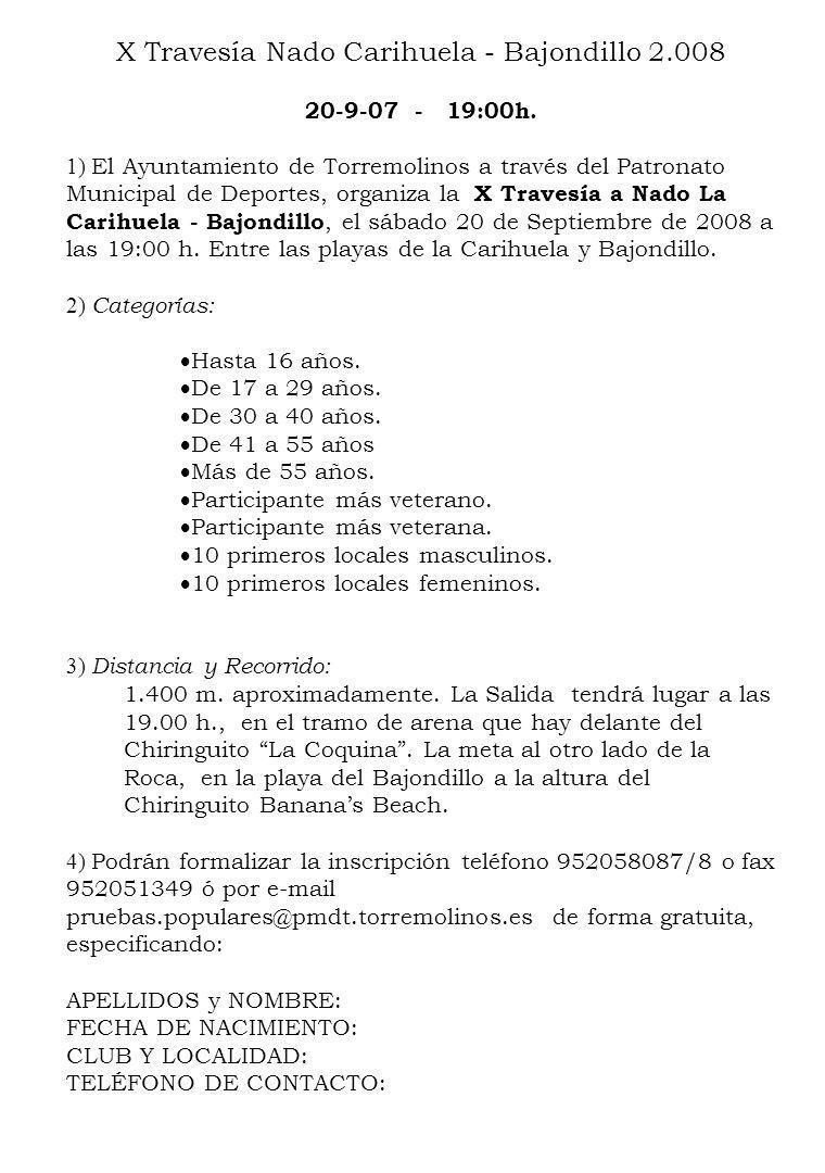 X Travesía Nado Carihuela - Bajondillo 2.008 20-9-07 - 19:00h.