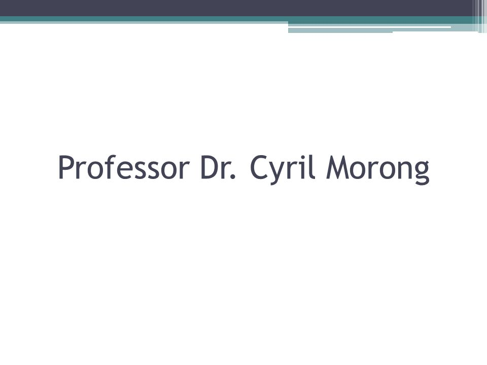 Professor Dr. Cyril Morong