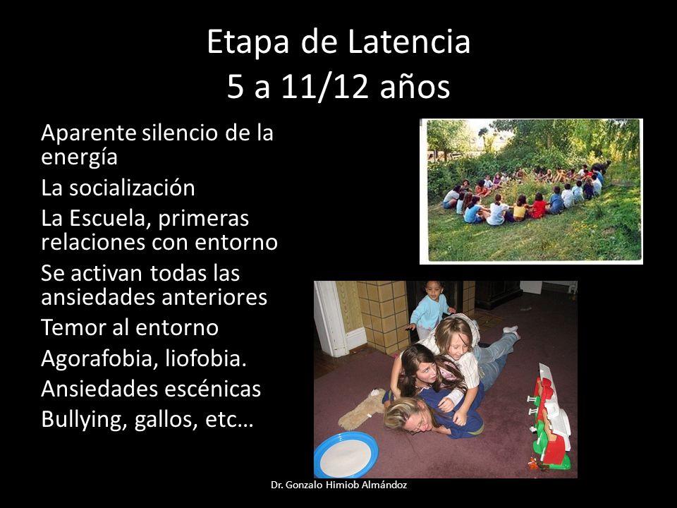 Etapa de Latencia 5 a 11/12 años Aparente silencio de la energía La socialización La Escuela, primeras relaciones con entorno Se activan todas las ans