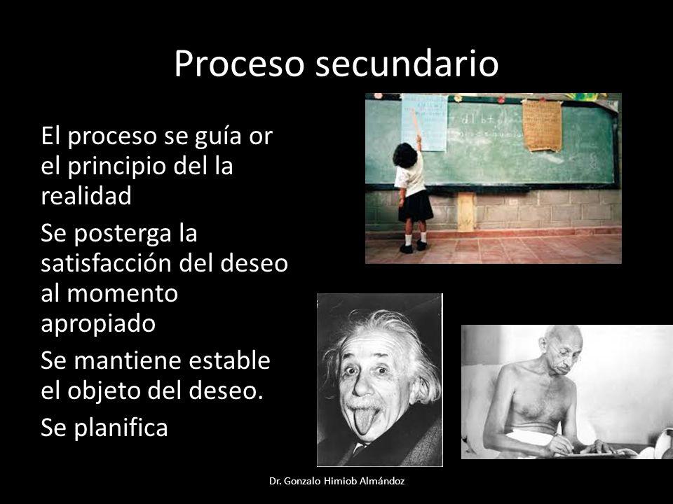 Proceso secundario El proceso se guía or el principio del la realidad Se posterga la satisfacción del deseo al momento apropiado Se mantiene estable e