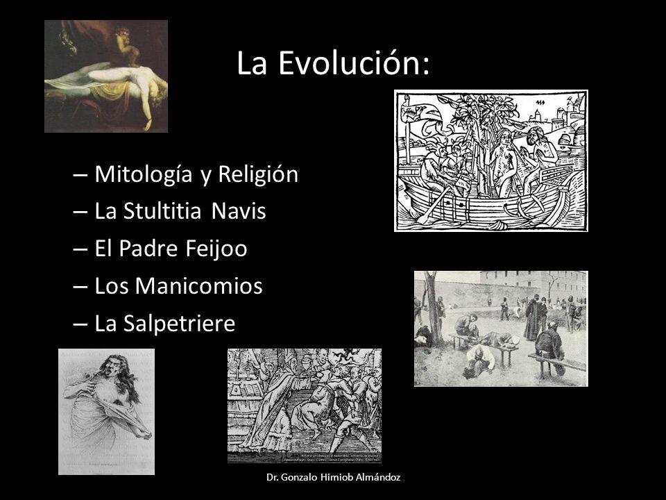 La Evolución: – Mitología y Religión – La Stultitia Navis – El Padre Feijoo – Los Manicomios – La Salpetriere Dr. Gonzalo Himiob Almándoz