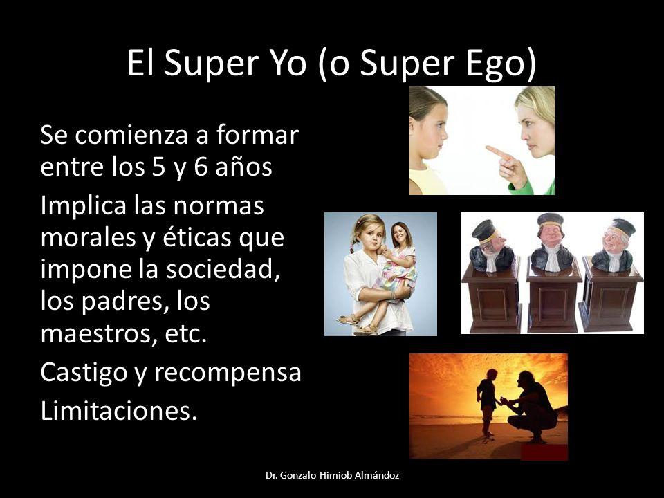 El Super Yo (o Super Ego) Se comienza a formar entre los 5 y 6 años Implica las normas morales y éticas que impone la sociedad, los padres, los maestr