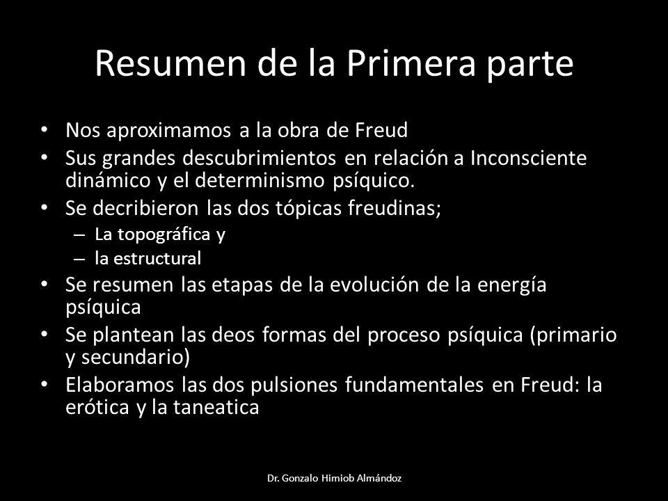 Resumen de la Primera parte Nos aproximamos a la obra de Freud Sus grandes descubrimientos en relación a Inconsciente dinámico y el determinismo psíqu