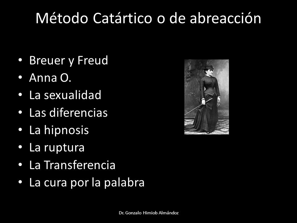 Método Catártico o de abreacción Breuer y Freud Anna O. La sexualidad Las diferencias La hipnosis La ruptura La Transferencia La cura por la palabra D