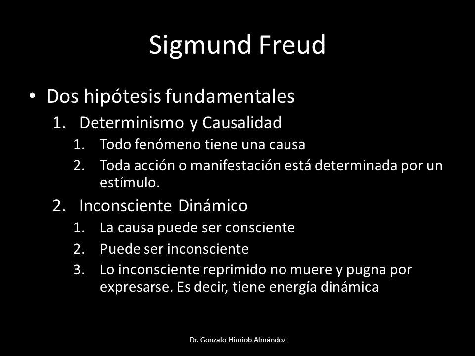 Sigmund Freud Dos hipótesis fundamentales 1.Determinismo y Causalidad 1.Todo fenómeno tiene una causa 2.Toda acción o manifestación está determinada p