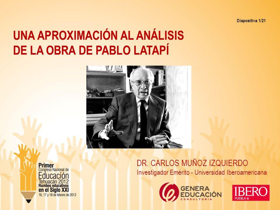 UNA APROXIMACIÓN AL ANÁLISIS DE LA OBRA DE PABLO LATAPÍ Diapositiva 1/21 DR. CARLOS MUÑOZ IZQUIERDO Investigador Emérito - Universidad Iberoamericana