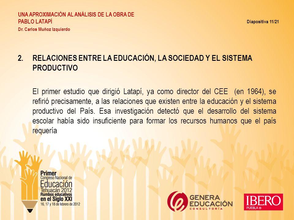 2.RELACIONES ENTRE LA EDUCACIÓN, LA SOCIEDAD Y EL SISTEMA PRODUCTIVO El primer estudio que dirigió Latapí, ya como director del CEE (en 1964), se refi