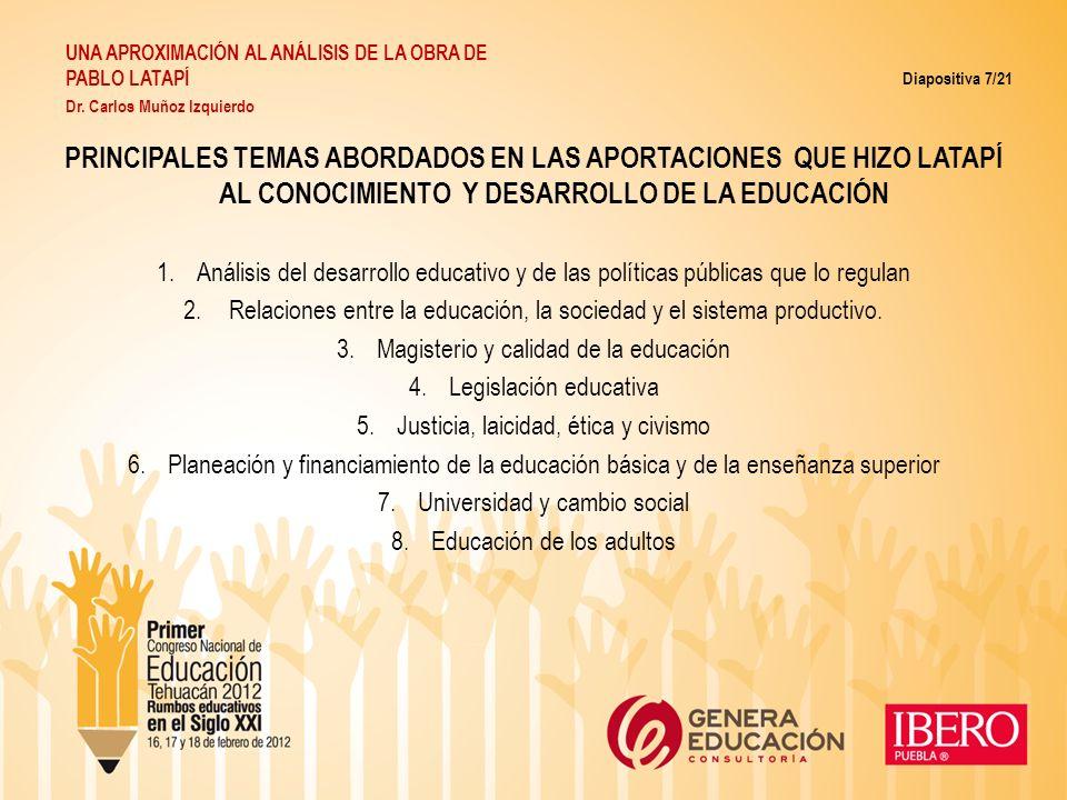 PRINCIPALES TEMAS ABORDADOS EN LAS APORTACIONES QUE HIZO LATAPÍ AL CONOCIMIENTO Y DESARROLLO DE LA EDUCACIÓN 1.Análisis del desarrollo educativo y de
