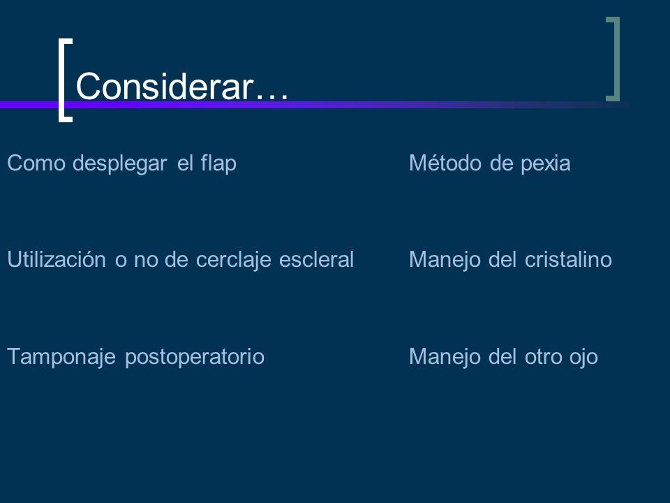 Considerar… Como desplegar el flapMétodo de pexia Utilización o no de cerclaje escleralManejo del cristalino Tamponaje postoperatorioManejo del otro o