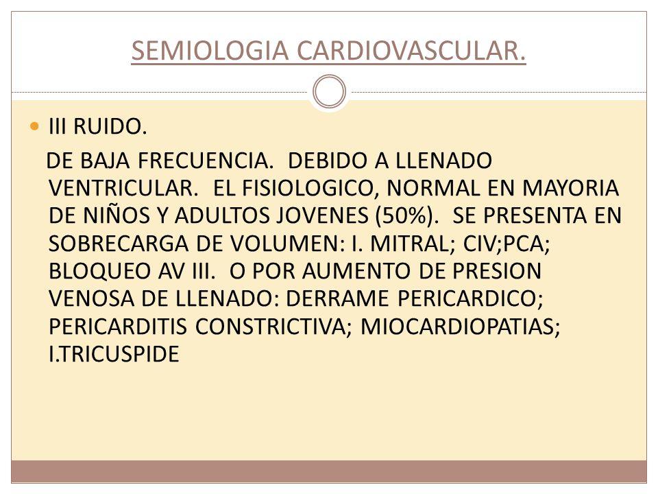 SEMIOLOGIA CARDIOVASCULAR. III RUIDO. DE BAJA FRECUENCIA. DEBIDO A LLENADO VENTRICULAR. EL FISIOLOGICO, NORMAL EN MAYORIA DE NIÑOS Y ADULTOS JOVENES (