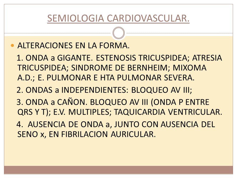 SEMIOLOGIA CARDIOVASCULAR. ALTERACIONES EN LA FORMA. 1. ONDA a GIGANTE. ESTENOSIS TRICUSPIDEA; ATRESIA TRICUSPIDEA; SINDROME DE BERNHEIM; MIXOMA A.D.;