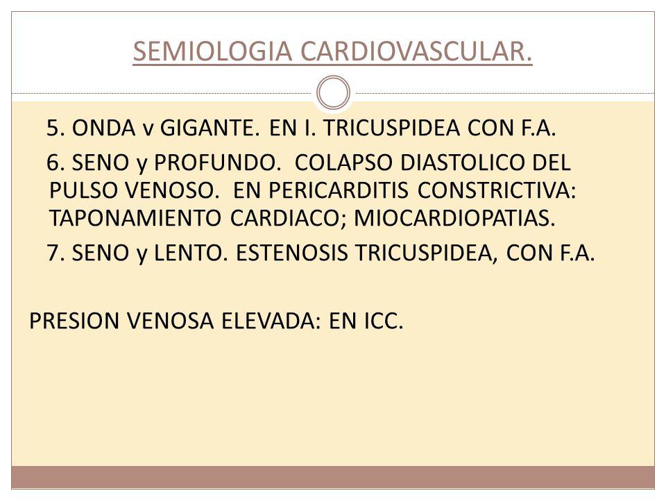 SEMIOLOGIA CARDIOVASCULAR. 5. ONDA v GIGANTE. EN I. TRICUSPIDEA CON F.A. 6. SENO y PROFUNDO. COLAPSO DIASTOLICO DEL PULSO VENOSO. EN PERICARDITIS CONS