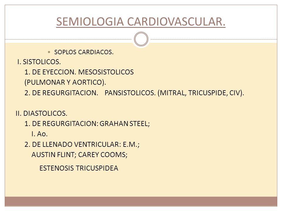 SEMIOLOGIA CARDIOVASCULAR. SOPLOS CARDIACOS. I. SISTOLICOS. 1. DE EYECCION. MESOSISTOLICOS (PULMONAR Y AORTICO). 2. DE REGURGITACION. PANSISTOLICOS. (