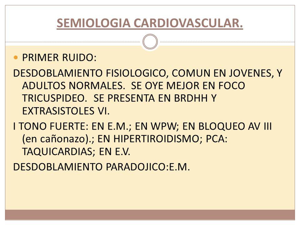 SEMIOLOGIA CARDIOVASCULAR I RUIDO DEBIL: BLOQUEO AV I;CARDITIS REUMATICA; SHOCK;DERRAME PERICARDICO: OBESIDAD; ENFISEMA PULMONAR; E.M.