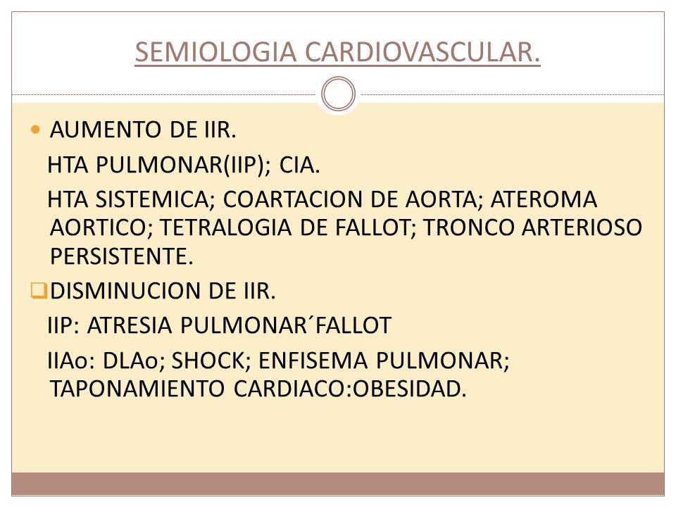 SEMIOLOGIA CARDIOVASCULAR. AUMENTO DE IIR. HTA PULMONAR(IIP); CIA. HTA SISTEMICA; COARTACION DE AORTA; ATEROMA AORTICO; TETRALOGIA DE FALLOT; TRONCO A