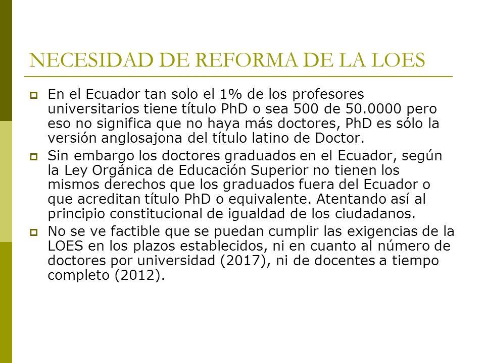 NECESIDAD DE REFORMA DE LA LOES En el Ecuador tan solo el 1% de los profesores universitarios tiene título PhD o sea 500 de 50.0000 pero eso no signif