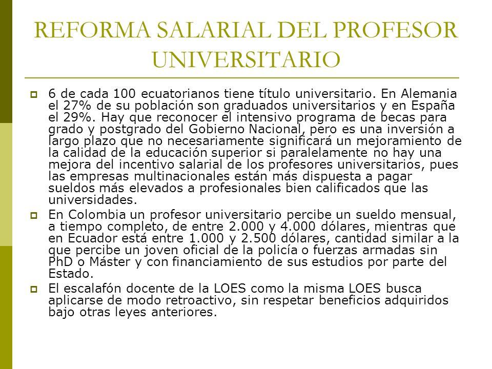 REFORMA SALARIAL DEL PROFESOR UNIVERSITARIO 6 de cada 100 ecuatorianos tiene título universitario. En Alemania el 27% de su población son graduados un