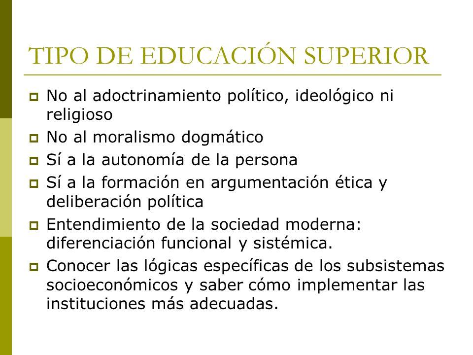 TIPO DE EDUCACIÓN SUPERIOR No al adoctrinamiento político, ideológico ni religioso No al moralismo dogmático Sí a la autonomía de la persona Sí a la f
