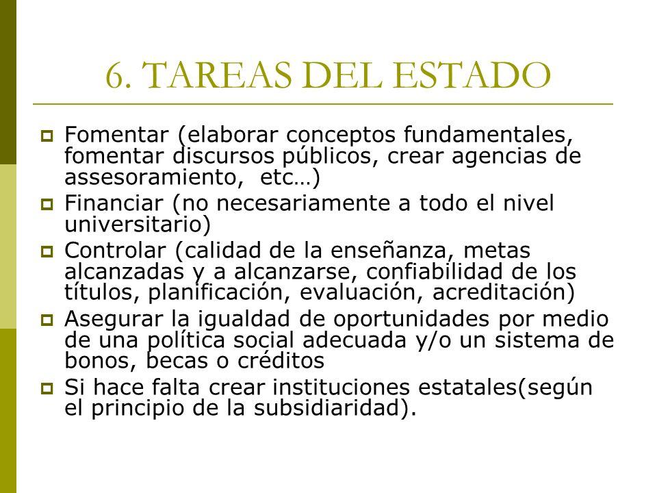 6. TAREAS DEL ESTADO Fomentar (elaborar conceptos fundamentales, fomentar discursos públicos, crear agencias de assesoramiento, etc…) Financiar (no ne