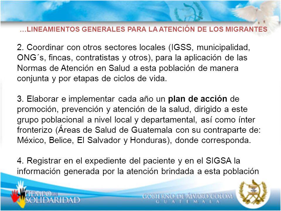 …LINEAMIENTOS GENERALES PARA LA ATENCIÓN DE LOS MIGRANTES 2. Coordinar con otros sectores locales (IGSS, municipalidad, ONG´s, fincas, contratistas y