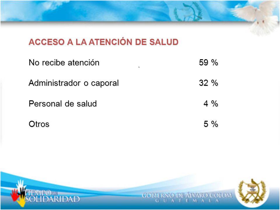 . ACCESO A LA ATENCIÓN DE SALUD No recibe atención 59 % Administrador o caporal 32 % Personal de salud 4 % Otros 5 %