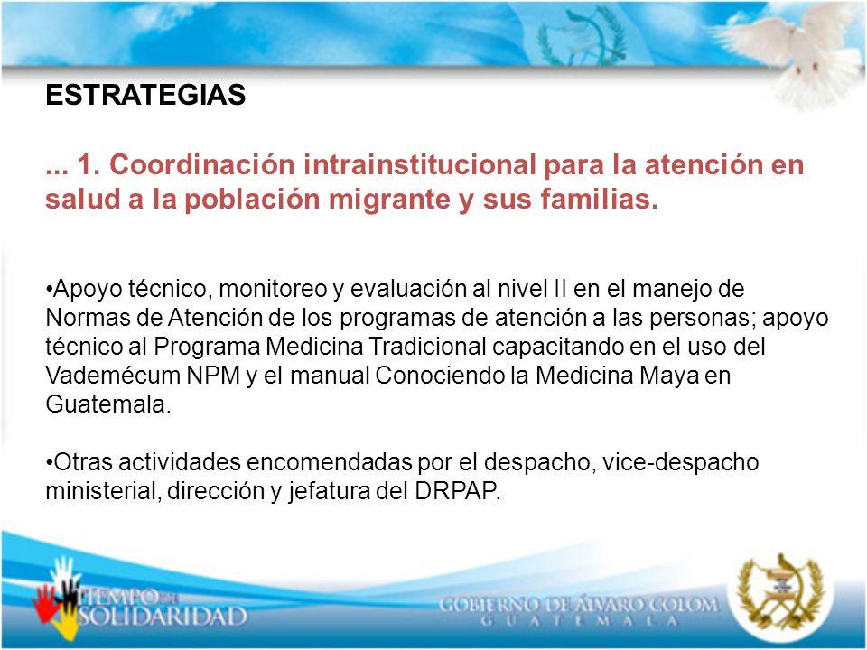 ESTRATEGIAS... 1. Coordinación intrainstitucional para la atención en salud a la población migrante y sus familias. Apoyo técnico, monitoreo y evaluac