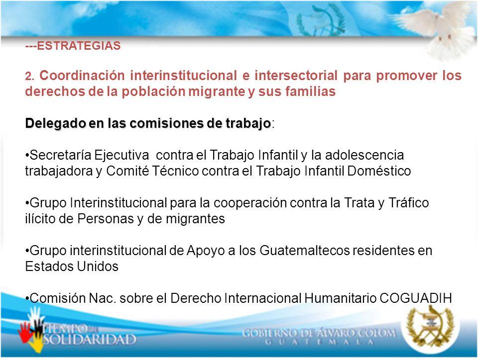 ---ESTRATEGIAS 2. Coordinación interinstitucional e intersectorial para promover los derechos de la población migrante y sus familias Delegado en las
