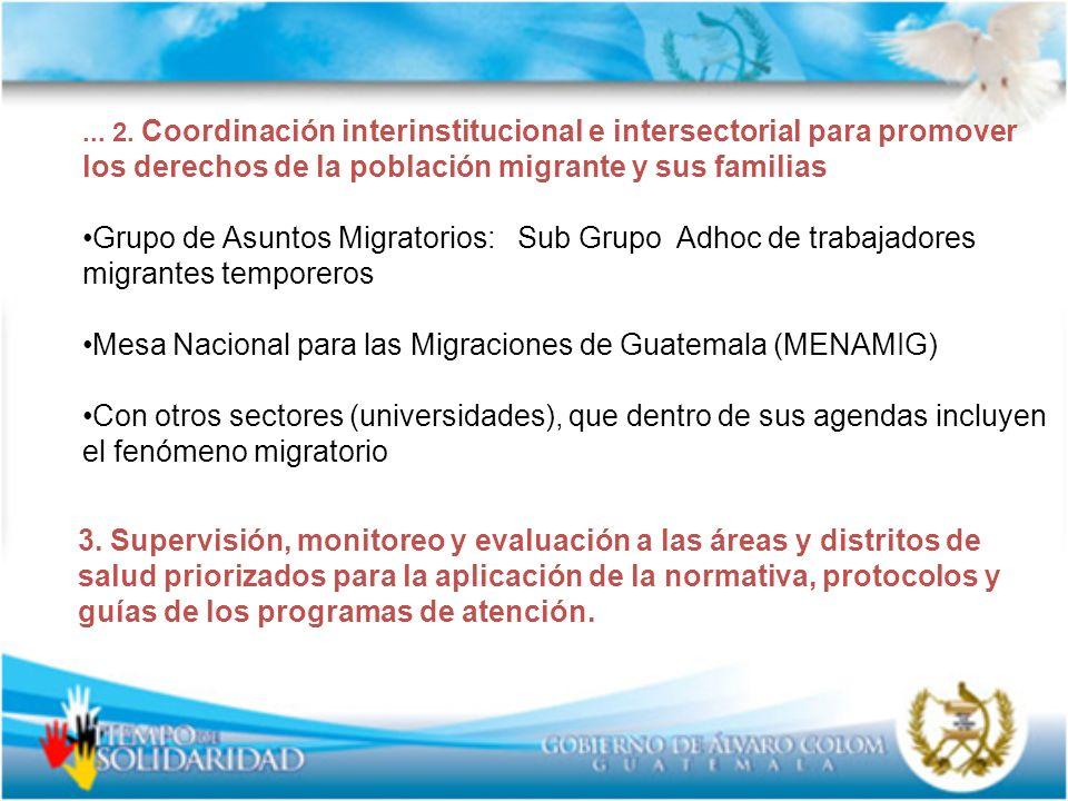... 2. Coordinación interinstitucional e intersectorial para promover los derechos de la población migrante y sus familias Grupo de Asuntos Migratorio
