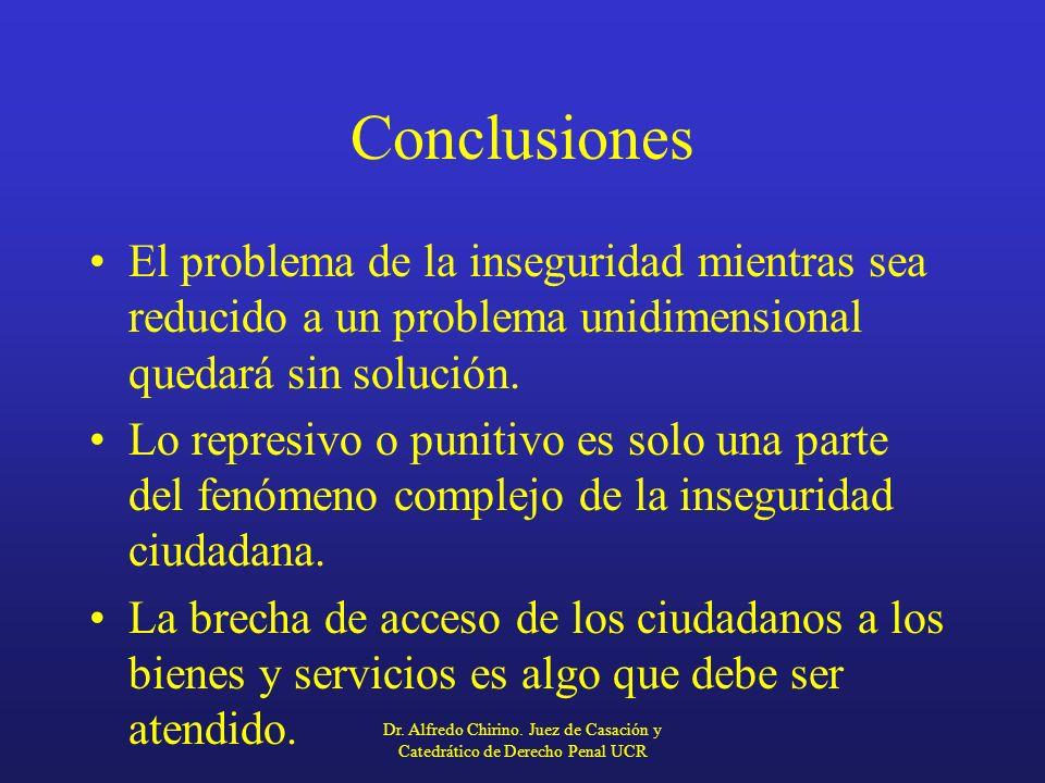 Conclusiones El problema de la inseguridad mientras sea reducido a un problema unidimensional quedará sin solución. Lo represivo o punitivo es solo un