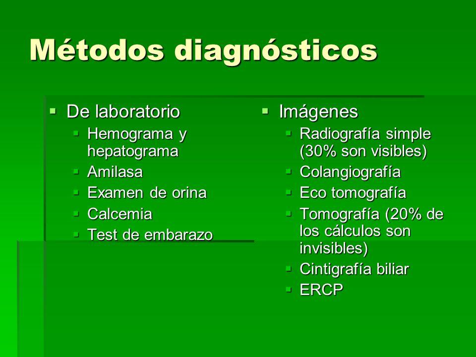 Métodos diagnósticos De laboratorio De laboratorio Hemograma y hepatograma Hemograma y hepatograma Amilasa Amilasa Examen de orina Examen de orina Cal