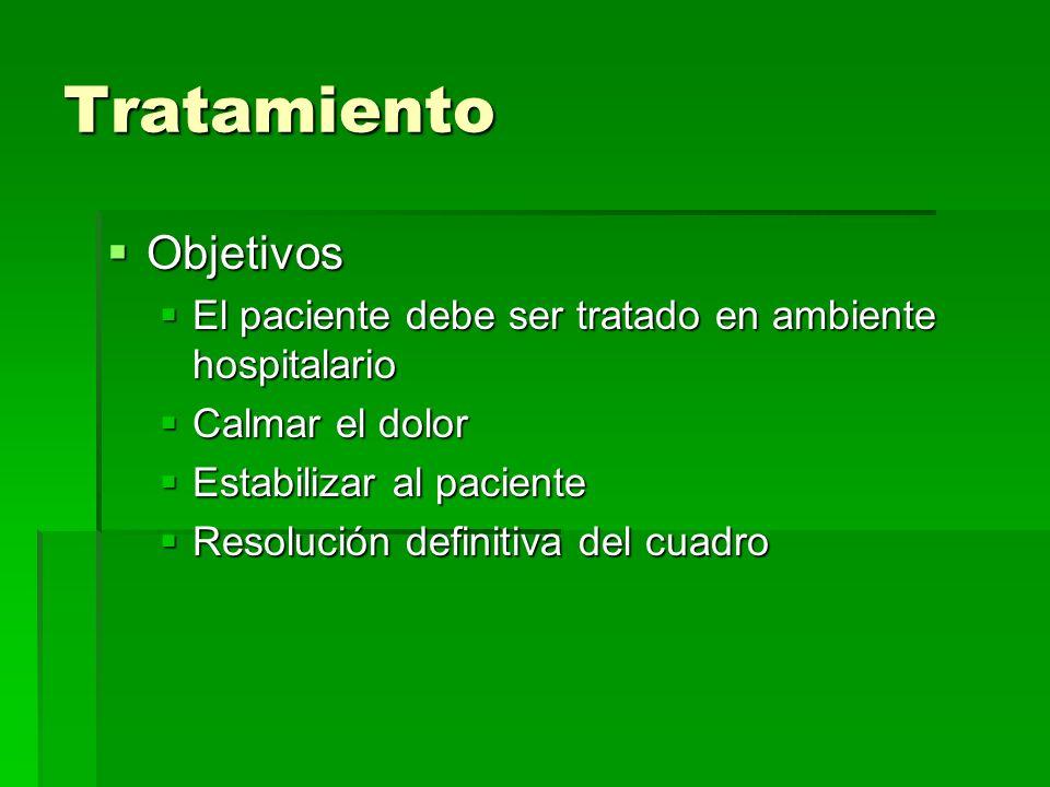 Tratamiento Objetivos Objetivos El paciente debe ser tratado en ambiente hospitalario El paciente debe ser tratado en ambiente hospitalario Calmar el