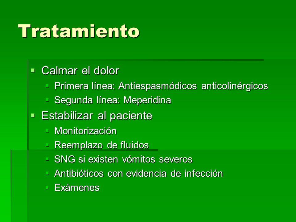 Tratamiento Calmar el dolor Calmar el dolor Primera línea: Antiespasmódicos anticolinérgicos Primera línea: Antiespasmódicos anticolinérgicos Segunda