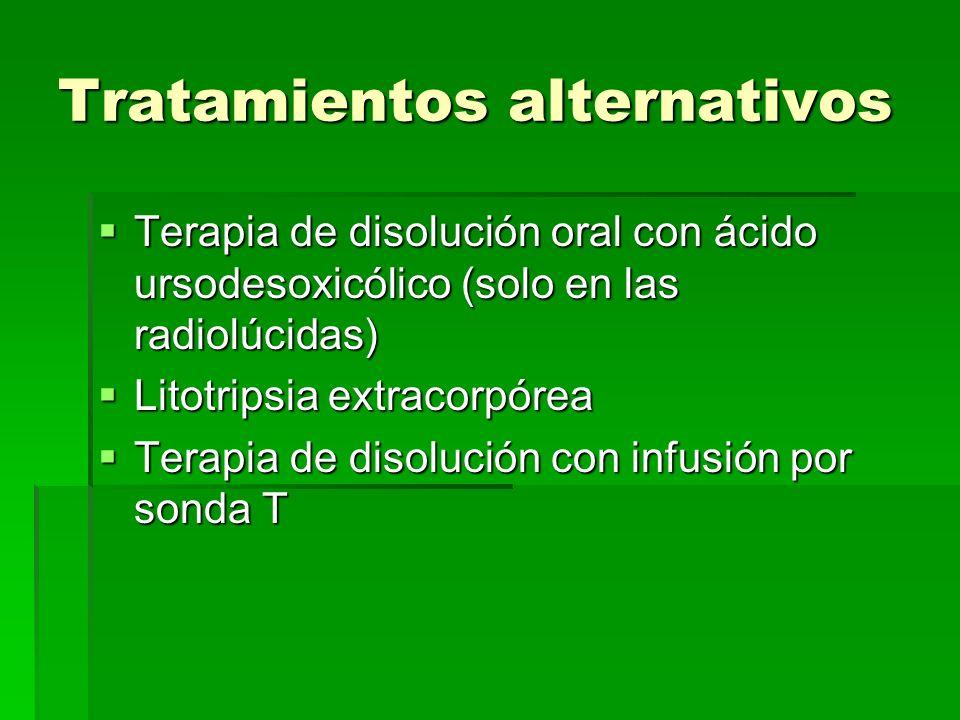 Tratamientos alternativos Terapia de disolución oral con ácido ursodesoxicólico (solo en las radiolúcidas) Terapia de disolución oral con ácido ursode