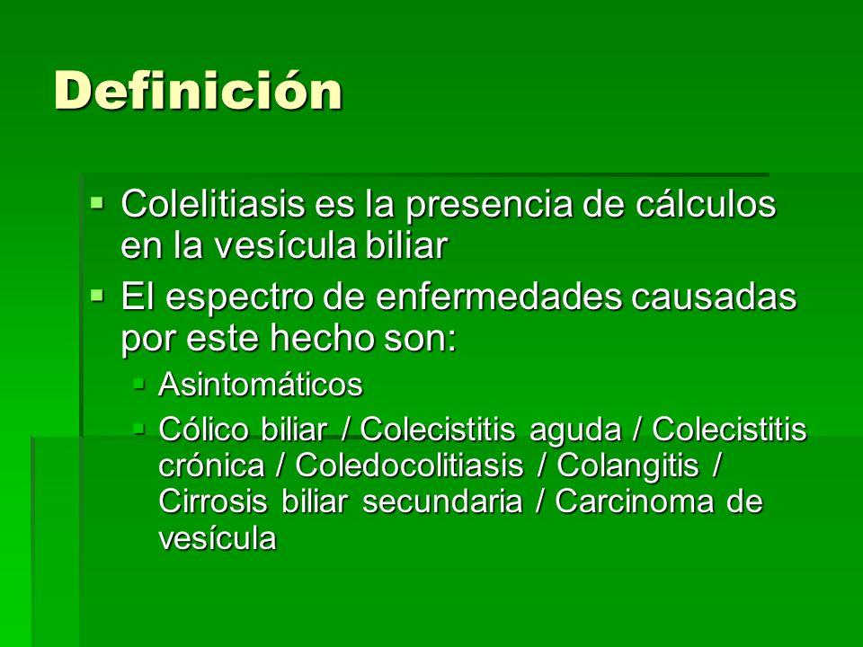 Definición Colelitiasis es la presencia de cálculos en la vesícula biliar Colelitiasis es la presencia de cálculos en la vesícula biliar El espectro d