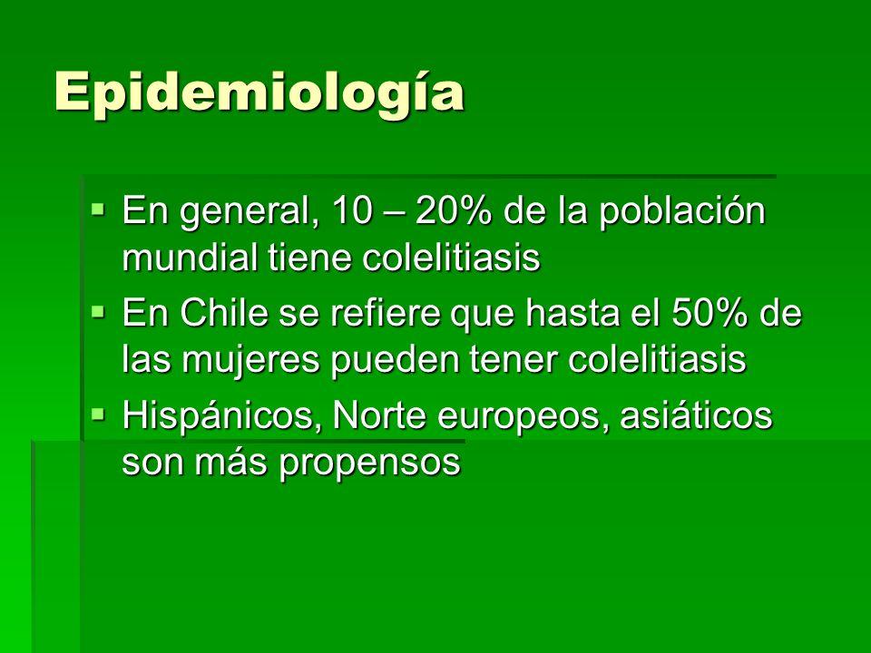 Epidemiología En general, 10 – 20% de la población mundial tiene colelitiasis En general, 10 – 20% de la población mundial tiene colelitiasis En Chile